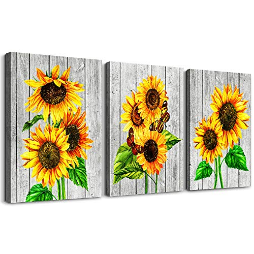 Canvas Wall Art for living room bathroom Wall Decor Canvas Prints Office kitchen wall paintings Artwork Home Decor yellow sunflower Flowers 12'x16'x3 Piece framed hotel bedroom Decorations Pictures