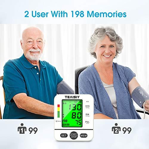 51dQstuixGL - Tensiómetro de Brazo Digital con Pantalla LCD, Automática de Presión Arterial y Pulso de Fuencia Cardíaca Detección, 22-40 cm Brazalete, Memorias de 2 Usuario (2 * 99)