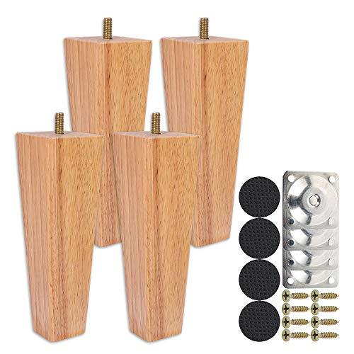 Juego de 4 patas de madera rectas de 15 cm, juego de patas de mesa baja de madera, con tornillo M8 antideslizante y placa de montaje para sofá, cama, silla de noche, armario (color natural, 15 cm)