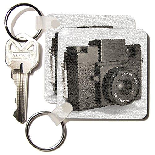 3dRose foto van een vintage plastic filmcamera - sleutelhangers, 2,25-inch, set van 2 sleutelhangers, 6 cm, varianten