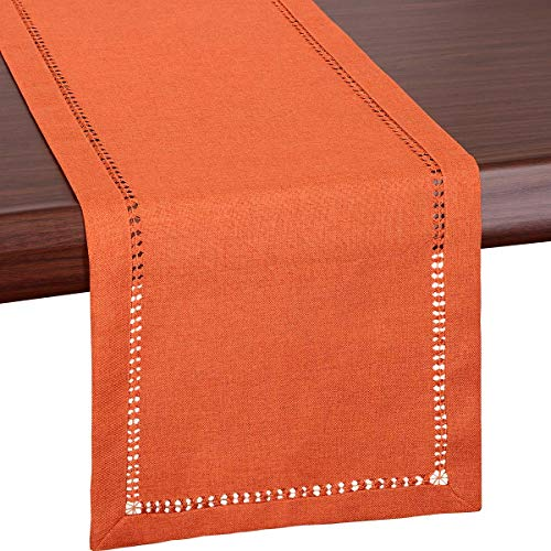 Grelucgo Super Large Handmade Hemstitch Solid Orange Rectangular Table Runner for Fall, Autumn, Thanksgiving or Halloween(14 x 144 Inch)