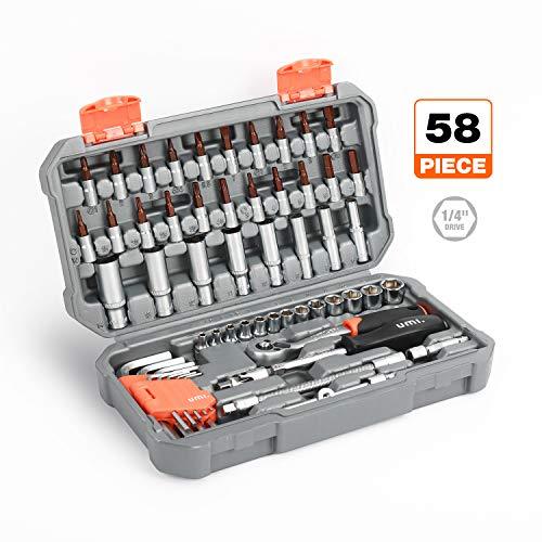 Umi. by Amazon- Steckschlüsselsatz 1/4 Zoll, 58-tlg Mechanik-Werkzeugsatz mit 72-Zahn- Umschaltknarre 1/4 Zoll, Sechskant Steckschlüssel Set und Bitsatz für die Reparatur zu Hause und DIY