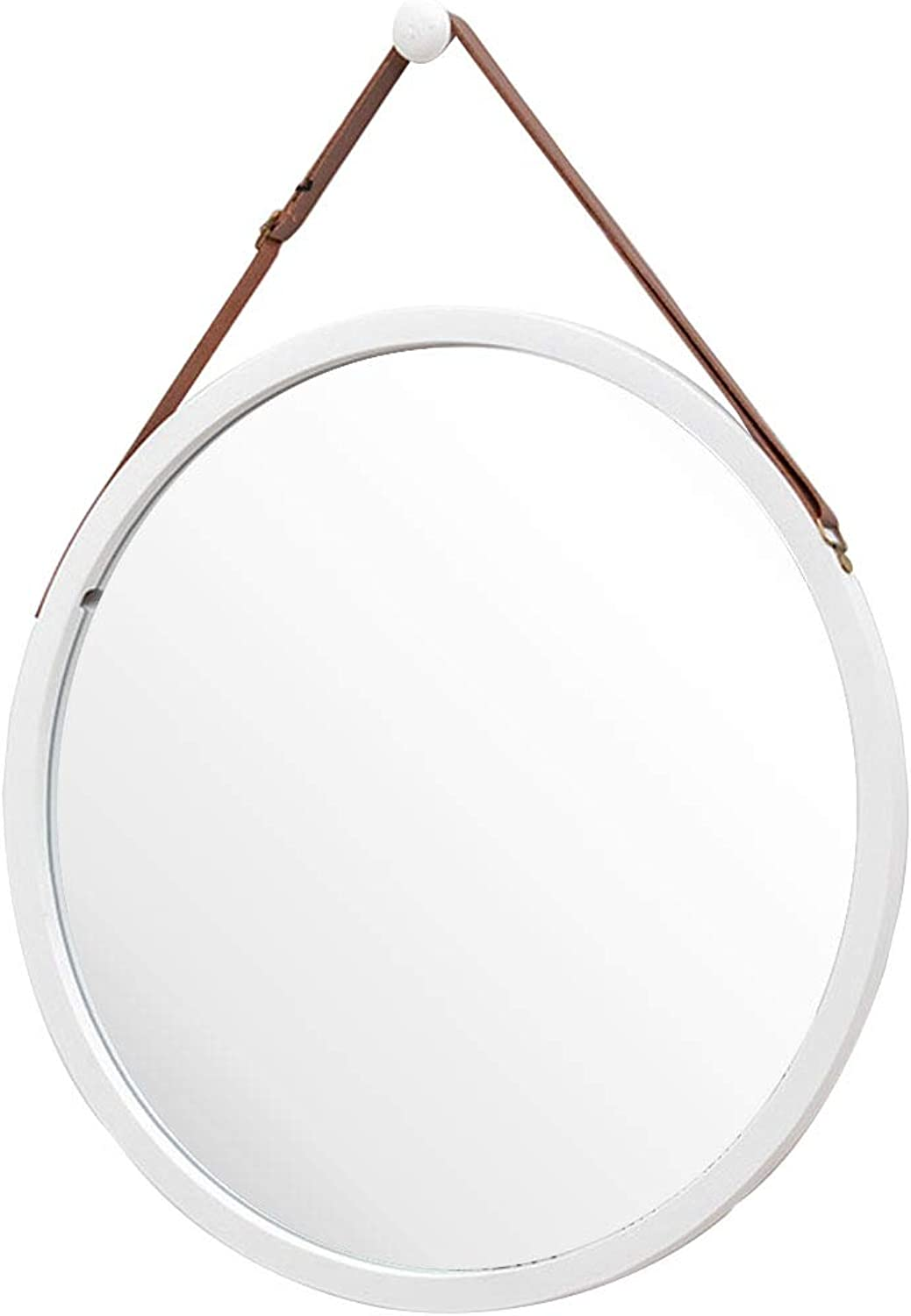 Round Wall-Mounted Mirror with Leather Hanging Strap (Adjustable) Bamboo Frame Mirror for Bathroom Makeup Bedroom Hallway Home Decoration,15-17.7 Inch