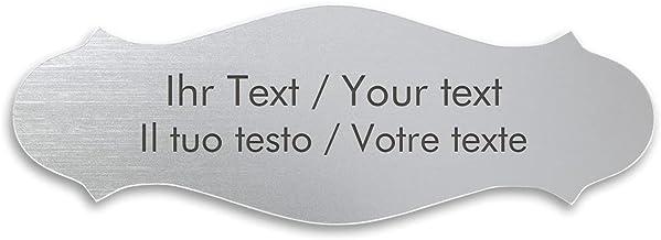 Woningbord met eigen tekst, gebogen kunststof bord in zilver-metallic - naambordje, deurschild, gravureplaatje 130 x 47 mm...