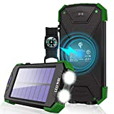 Solar Charger, 10000mAh Solar Power Bank, Qi Wireless Charger, Portable Charger for iPhone, External Battery Pack, Dual Flashlight, Compass, Solar Panel Charging for Outdoor Camping by LEO WAY, Green