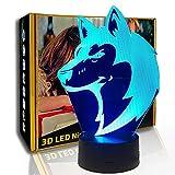 KangYD Lámpara de ilusión 3D Animal Wolfs Head, luz de noche LED, regalo para niños, E - Base para despertador (7 colores), Niño Lámpara, 7 cambio de color, USB alimentado