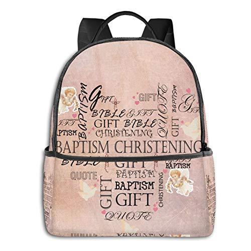 Baptism Christening Creative Backpack Boy Backpack, Cute Girl Backpack Teen School Travel Backpack