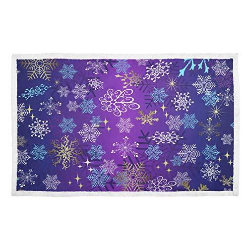 UMIRIKO Manta para mascotas Feliz Navidad, copo de nieve, color morado, suave, para perro, gato, cachorro, colchoneta para sofá cama, lavable 2020182