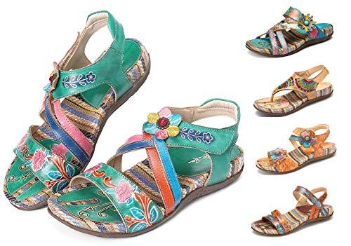 Camfosy Damen Leder Sandalen Vintage Stroh Sandale Flip Flops mit Einlegesohle Geflochtene Komfortable Flache Schuhe Urlaub Freizeit Mules 2019 Sommer Grün 38 EU