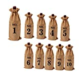 Weisin 10PCS Wine Bags Burlap Bottle Wine Bags Drawstring Wedding Party Favor Gift Pouch Burlap Gift Bag Storage Case Organizer,Chanvre