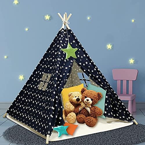 Tipi-Zelt für Kinder Indoor-Zelte mit Matte, Innentasche, einzigartigem Verstärkungsteil - Faltbares Spielzelt Canvas Tipi Kinderzelte für Mädchen & Jungen (Blau)