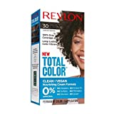 Revlon Total Color Permanent Hair Color, Clean and Vegan, 100% Gray Coverage Hair Dye, 30 ...