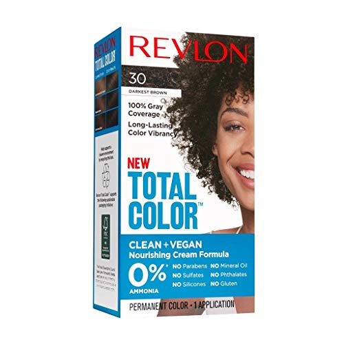 Revlon Total Color Permanent Hair Color, Clean and Vegan, 100% Gray Coverage Hair Dye, 30 Darkest Brown, 3.5 oz
