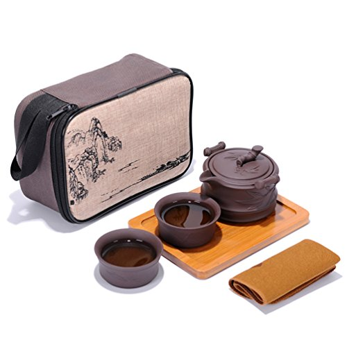Set da tè portatile da viaggio Kungfu Zisha, Teiera artigianale in argilla viola e 2 tazze da tè, cinese tradizionale (stile Bamboo)