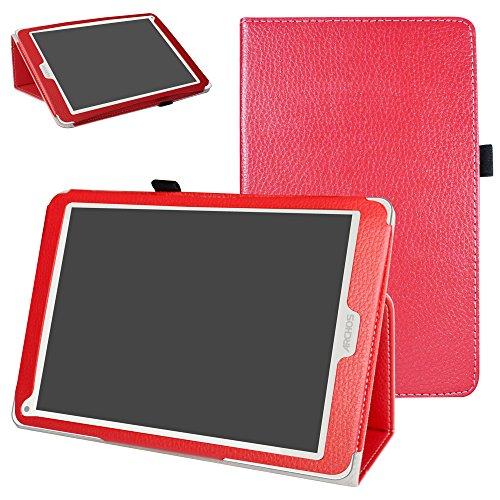 Mama Mouth Archos 97C Platinum Funda, Slim PU Cuero con Soporte Funda Caso Case para 9.7' Archos 97C Platinum Android 6.0 Tablet PC,Rojo