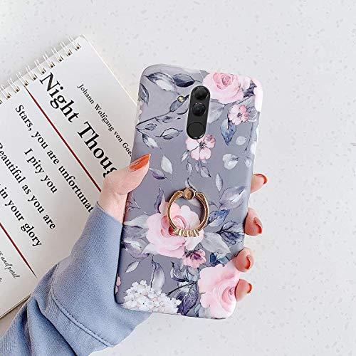 Herbests Kompatibel mit Huawei Mate 20 Lite Hülle mit Ring Halter Ständer Handyhülle Blumen Blätter Muster Weiche Silikon Case Stoßfest TPU Handyhülle Crystal Case Ultradünn Hülle,Blumen Grau