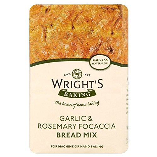 Wrights Knoblauch & Rosmarin Focaccia Bread Mix (500g) - Packung mit 2
