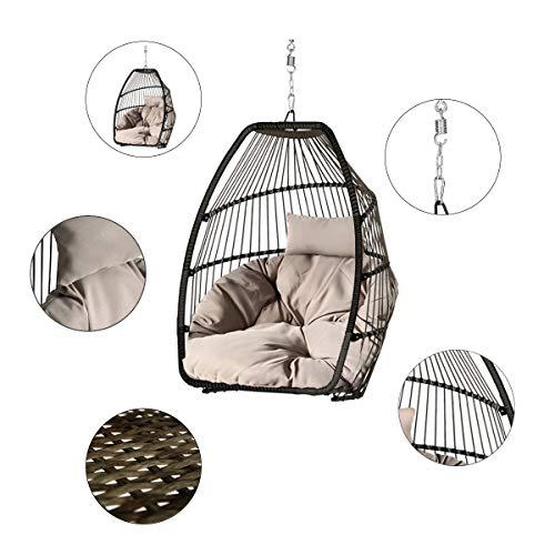 Sekey Hängesessel mit Gestell Kissen, Polyrattan Hängestuhl mit Sitzkissen für Garten und Balkon, Taupe XXL - 5