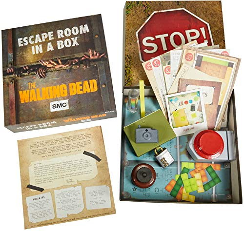 Escape Room in a Box:The Walking Dead Board Game, Party Game for 4 to 8 Players with Clues & Puzzles Inspired by AMC TV Series, Gift for Teens & Adults Ages 13 Years Old & Up