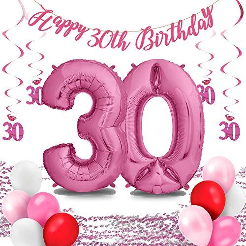 envami Folienluftballons Set - für die perfekte Überraschung zum Geburtstag: XXL Luftballon pink (100cm) + Konfetti + Happy Birthday Girlande + Hängedeko + 10 Luftballons (Zahl 30)