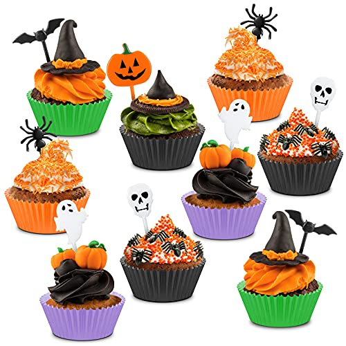 150 Pieces Halloween Picks Set 50 Plastic Halloween Cupcake Topper Pumpkin Ghost Cupcake Toothpicks with 100 Paper Cupcake Liners Muffin Wrappers Baking Cups for Kids Birthday Halloween Party Supplies