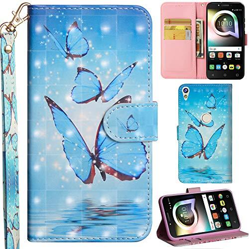 Ooboom Alcatel Shine lite 5080X Hülle 3D Flip PU Leder Schutzhülle Handy Tasche Hülle Cover Ständer mit Trageschlaufe Magnetverschluss für Alcatel Shine lite 5080X - Blau Schmetterling