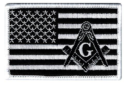 Masonic Black American Flag Patch Embroidered Iron-On Freemason Square Compass