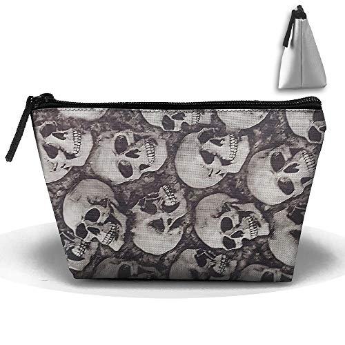 Portable Trapezoidal Storage Pouch Cool Skulls Seamless Art Cosmetic Bags Travel Toiletry Zipper...