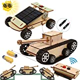 DIY Wooden Kids Science Experiment Kits-Remote Control Off Road Tracked Tank and Solar Power Race Car,STEM Learning Toys Gifts Electric Motor Building Project for Kids (Tank and Race Car(2 Kits))