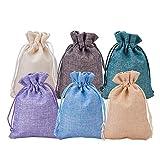 BENECREAT 30 PCS 6 Colores Bolsas de Arpillera Bolsas de Regalo con Cordón Bolsa de Tela para Fiesta de Bodas y Artesanía de Bricolaje