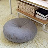 OLEEKA Cojín de Asiento Lino Cojines de Piso Grandes Cojín de meditación Futones japoneses Círculo engrosador Asiento Tatami