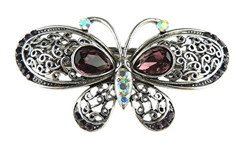Glamour Girlz Barrette à cheveux en métal noir gris foncé vintage motif papillon rose