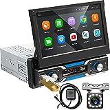 Podofo Autoradio Android 1 Din Stereo Auto Bluetooth Con 7 pollici Schermo A Scomparsak Navigatore Retrocamera...