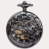 SGSG Reloj de Bolsillo mecánico Vintage Ahuecado Flor Moda Hombres Mujeres Reloj de Bolsillo de Cuarzo Collar Unisex Colgante