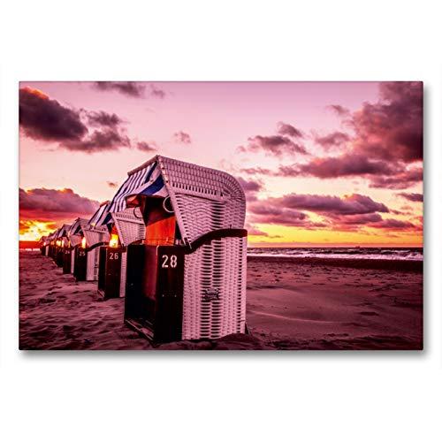 Premium Textil-Leinwand 90 x 60 cm Quer-Format Strandkörbe in Warnemünde | Wandbild, HD-Bild auf Keilrahmen, Fertigbild auf hochwertigem Vlies, Leinwanddruck von Thomas Deter