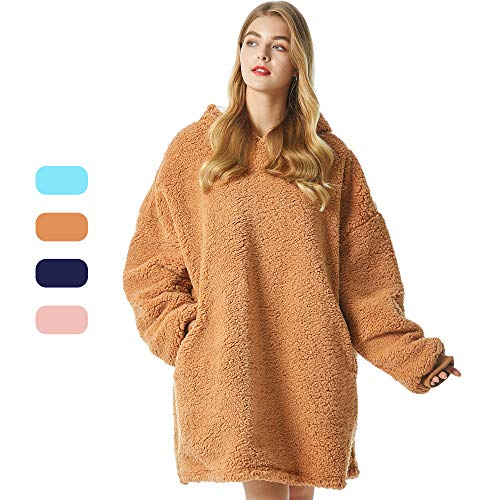 Felicigeely Wearable Fleecehug Hoodie Blanket ,Oversized Blanket Sweatshirt,Soft Warm Reversible Hooded Sweatshirt Thick Plush Giant Pullover Fleece Sweater for Adults Men Women Teens Friends