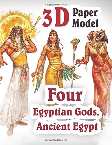 3D Paper Model Four Egyptian Gods, Ancient Egypt: Anubis, Bastet, Horus, Sobek PaperCraft DIY for Kids