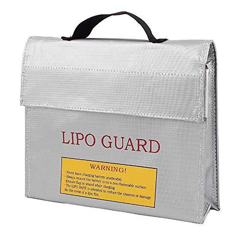 N Lipo Battery Safe Bag, Explosionsgeschützte Batterietasche, Aufbewahrungsbeutel für Akkus mit Großem Platzbedarf, mit Tragbarem Griff, für Li-Po-Batterie, Auto-Starthilfe (Silber)