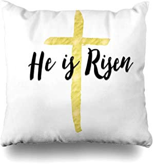 Ahawoso Throw Pillow Covers Birth Quote He Risen Christian Easter Bible Scripture Holidays Resurrection Text Belief Verse Brush Home Decor Pillowcase Square Size 18