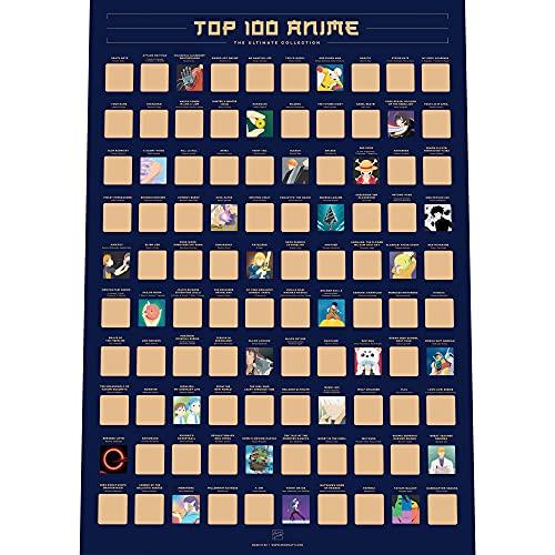 Póster para Rascar con 100 Animes - Lista de Deseos con la Mejor Animación Japonesa de Todos los Tiempos (42 x 59,4 cm)