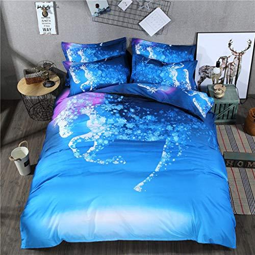 Dszltf Blue Drie-delige dekbedovertrek, met Paard Kussen, 2 kussenslopen, Invisible Snowflake-vormige Zipper, Super zacht en comfortabel beddengoed, Fan Cover,200 * 200cm