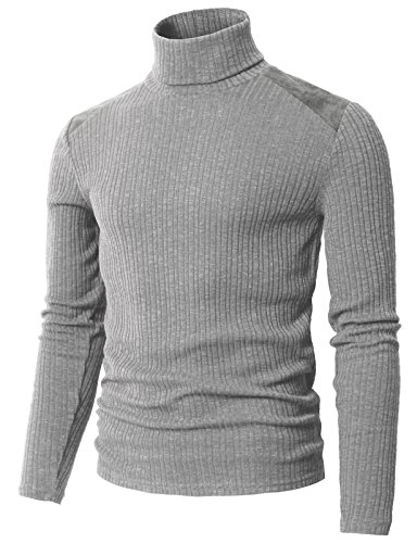H2H Mens Slim Fit Textured Knit Turtleneck Long Sleeve Pullover Sweater Gray US L/Asia XL (CMTTL099)
