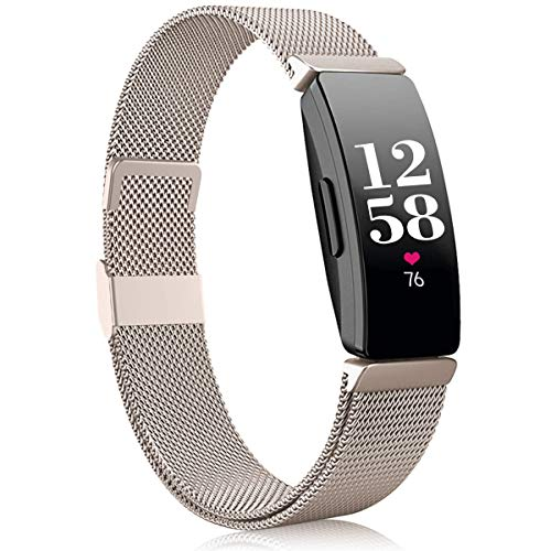 Funbiz Kompatible mit Fitbit Inspire Armband/Inspire HR Armband, Edelstahl Ersatzarmband mit Einzigartiges Schloss Kompatible mit Fitbit Inspire/Inspire HR/Inspire 2/Ace 2, Klein Champagner