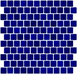 Susan Jablon Mosaics - 1 Inch Cobalt Blue on White Recycled Glass Tile Reset In Offset Layout