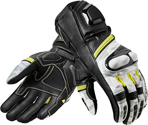 Revit Handschuhe League Gloves Racing Motorradhandschuhe Sportlich Leder, schwarz-weiß, XL