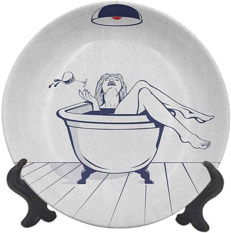 Plato decorativo de cerámica de 20,32 cm, diseño de mujer joven que se relaja en el baño con copa de vino, para decoración de mesa de Navidad