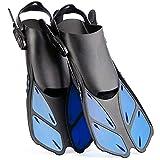 Wsobue Aletas de Buceo, Aletas de Snorkel para Hombres y Mujeres, Aletas de Natación Ajustables de Talón Abierto para Nadar, Bucear y Snorkeling (Azul, S/M)