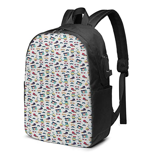Laptop Backpack with USB Port Fun Mustache Camera Scooter Shoe, Business Travel Bag, College School Computer Rucksack Bag for Men Women 17 Inch Laptop Notebook