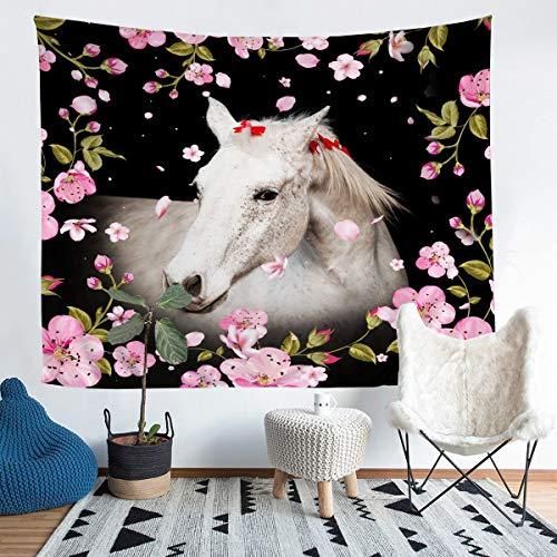 Manta para colgar en la pared, diseño de caballo galopante para niños, niñas y niños, diseño de flores de cerezo, ultrasuave en 3D, manta grande de 58 x 79 pulgadas