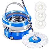 Spin Mop and Bucket with 3 Microfiber Mop Heads 360 Rolling Mop and Bucket System for Cleaning Masthome